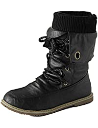c42418afef564 Minetom Otoño Invierno Cómodas Para Mujer Zapato Boots Shoes Flat Planas  Pompones Pu Cuero Botines Botas