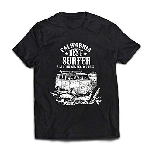 lepni.me Männer T-Shirt der Beste Surfer Kaliforniens - Strand-Sommer-Ferien, surfender Stil, Packwagen, Reiseentwurf (XXXX-Large Schwarz Mehrfarben) Keine Andere Gay Film