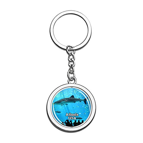USA Vereinigte Staaten Schlüsselbund Georgia Aquarium Atlanta Schlüsselbund 3D Kristall Drehen Rostfreier Stahl Schlüsselbund Touristische Stadt Andenken Schlüsselanhänger