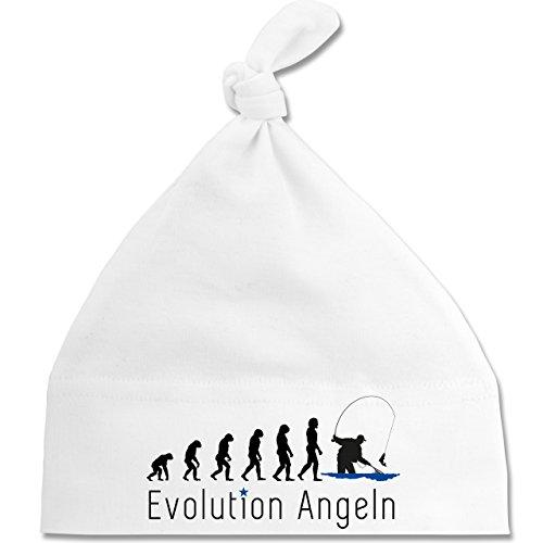 Shirtracer Evolution Baby - Angeln Evolution - Unisize - Weiß - BZ15 - Baby Mütze mit einfachem Knoten als Geschenkidee
