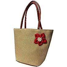 Women's High Trendy Jute Handbag Red Flower Design Dual Pocket (Shining)