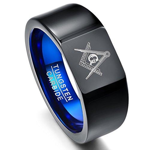 olfram mit Freimaurer Gravur, Unisex Ring Schwarz+Blau mit Winkel und Zirkel, für Freundschaft, Lifestyle, Größe 62 (22) ()