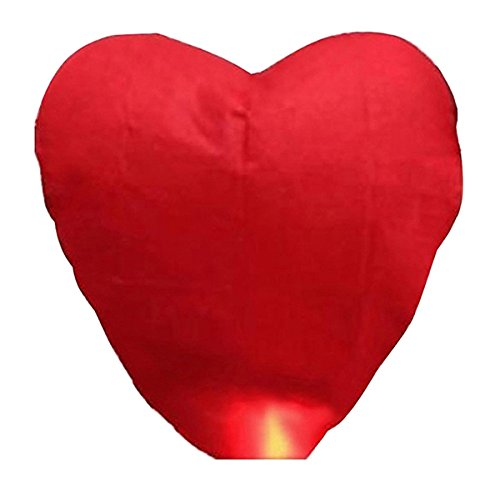 Pixnor 10 Stk rot Herzform fliegende Himmelslaternen, Chinesisch (traditionell) fliegen leuchtende Laternen