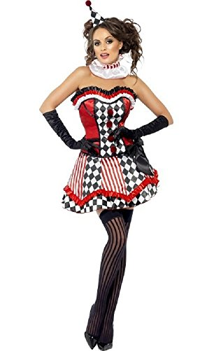 Fancy Me Da Donna 4 pezzi Sexy Boutique Harlequin Clown Circus Carnival gallina Do Costume di Halloween Outfit UK 8-18 (Uk Halloween-kostüme Circus)