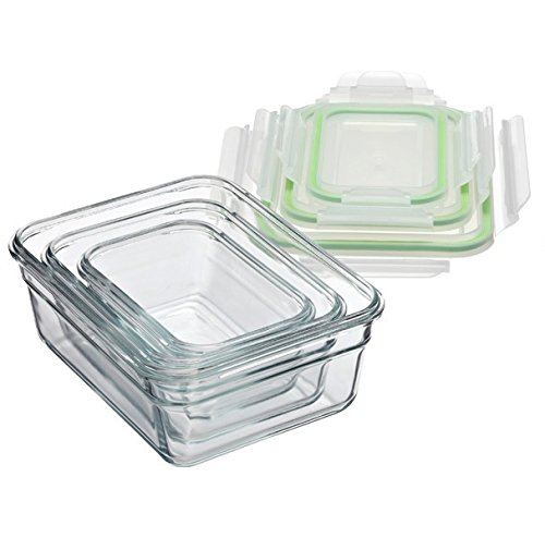 Glasslock (GL-529, 1x 480ml, 1x 970ml, 1x 1730ml) Rechteckige Frischhaltedose aus Glas - Ofen Typ