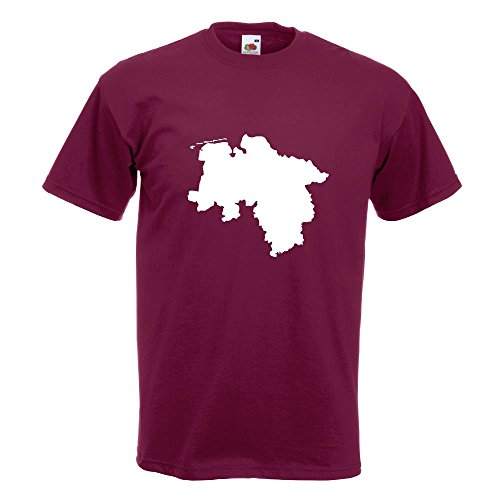 KIWISTAR - Niedersachsen Deutschland Silhouette T-Shirt in 15 verschiedenen Farben - Herren Funshirt bedruckt Design Sprüche Spruch Motive Oberteil Baumwolle Print Größe S M L XL XXL Burgund