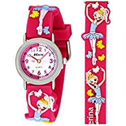 Ravel Children's 3D Ballerina Timeteacher Quartz Watch with White Dial Analogue Display and Multicolour Plastic Strap, R1513.73