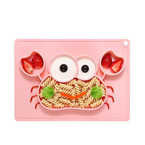Bambini tovaglietta piatto in silicone, forma di granchio tovaglietta antiscivolo bambini piatto con ventosa ideale per il seggiolone, portatile libera di bpa stoviglia approvata dalla fda