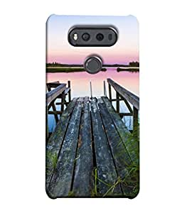 PrintVisa Designer Back Case Cover for LG V20 Dual H990DS :: LG V20 Dual H990N ( Beauty Blue Morning Forest Grass Beautiful Lake)