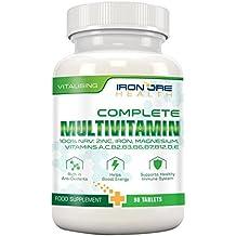 Complete Multivitamin - El mejor complejo vitamínico diario para una salud robusta - Vitalidad, refuerzo al sistema inmunitario, cinc, hierro, magnesio, 100% de las CDR de A, C, B2, B3, B6, B7, B12, D y E para hombres y mujeres - 90 pastillas - Ingredientes de la mejor calidad