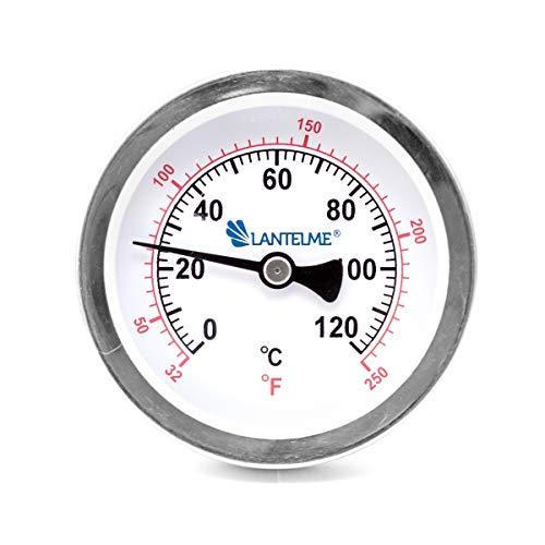 Lantelme 120 °C Grad Thermometer Heizung Messing Tauchhülse Zeigerthermometer Skala schwarz Analog Bimetall 4672