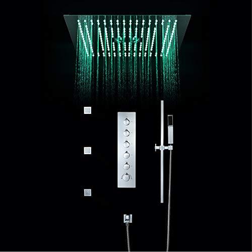 Grifos de ducha termostáticos para baño Lluvia empotrada en el techo Cabezal...