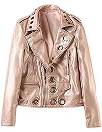 326a8b7933 Amazon.it: In Pelle Biker - Rosa / Giacche e cappotti / Donna ...