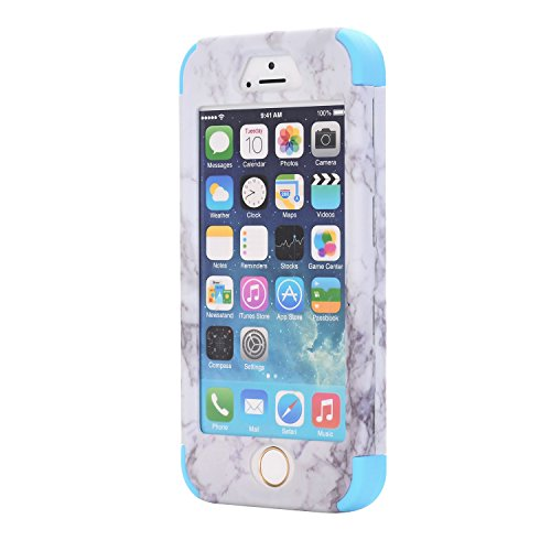 Cover per iPhone SE Marmo case, iPhone 5 5S Cover, Xifanzi iPhone SE Disegno del modello di marmo Custodia ibrida a 3 strati in silicone a prova di collisione per Custodia Cover ibrida a 3 strati in s Blu