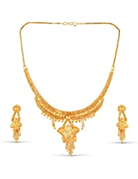 Variation Yellow Gold Plated Necklace Set For Women Wedding-VD18197