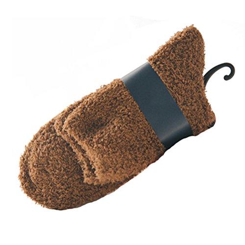 Tinksky Hommes corail polaire cheville chaussettes chaudes chaussettes plancher épais moelleux sommeil lit chaussettes 1 paire (café)