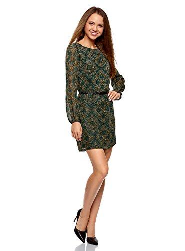 oodji Ultra Mujer Vestido de Gasa con Cinturón, Verde, ES 42 / L
