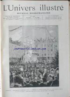 UNIVERS ILLUSTRE (L') [No 1848] du 23/08/1890 - JABBEVILLE - INAUGURATION DU MONUMENT ELEVE A LA MEMOIRE DE L'AMIRAL COURBET - MM. FALGUIERE ET MERCIE - ARCHITECTE - M. PUJOL - DESSIN PAUL DESTEZ - BEAUX - ARTS - CANDEUR DE A. SEIFERT.