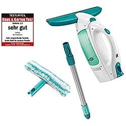 Leifheit Kit aspirateur à vitres Dry & Clean avec manche et mouilleur, lave vitre sans traces, nettoyeur vitre multi usages, aspirateur portable