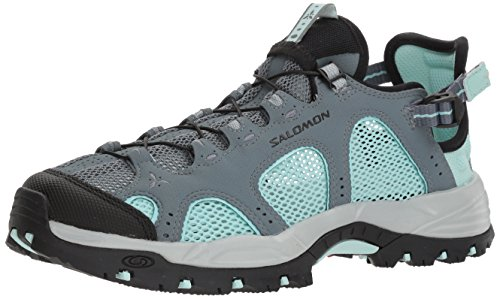 Salomon Techamphibian 3 W, Chaussures de Randonnée Basses Femme, Gris (Stormy Weather/Eggshell Blue/Black 000), 40 2/3 EU
