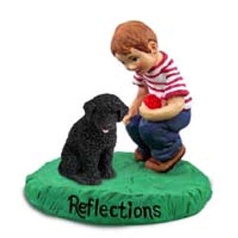 Portuguese Water Dog Reflections w/Boy Figurine