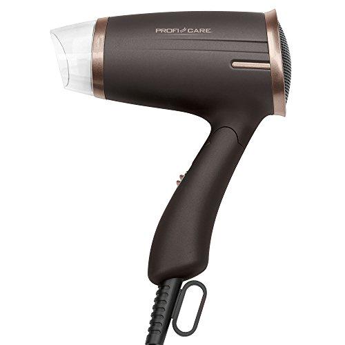 ProfiCare HT 3009 - Secador de pelo de viaje con mango plegable, 2 niveles potencia, 1400 W, color marrón