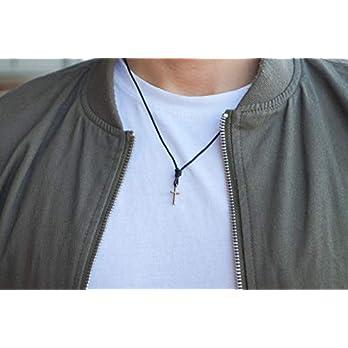 Kreuzkette Herren Halskette Surfer Kette mit Kreuz Anhänger – Made by Nami Handmade – aus Leder – Schwarz