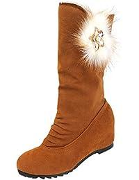 Stiefel Damen Boots Winterstiefel Keilabsatz Quaste Stiefeletten Frauen  Schuhe Erhöhte Mode Lässig Stiefel Freizeitschuh ABsoar b8f8ad3244