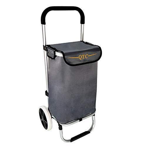 QTC ALU Einkaufstrolley Korb Trolley klappbar Einkaufstasche Einkaufswagen Shopping Trolley (Grau)