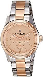 Titan Rose Gold Dial Analogue Metal Watch For Men - 9493KM03J
