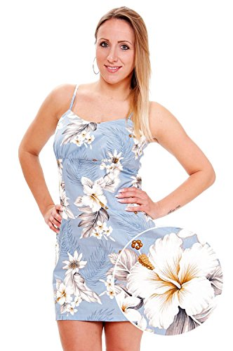 Pacific-Legend-Original-Hawaii-vestido-Mujer-S-XXL-Verano-Hawaii-de-Print-flores-color-azul-claro-azul-claro-extra-large