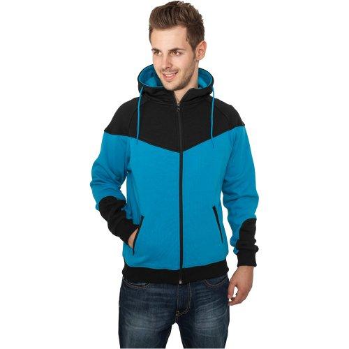 Urban Classics Herren Zip Hoodie Arrow Sweat blau türkis/black