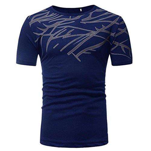 Unterhemd Hoch Männer (Herren T-shirt Tops,Dasongff Männer T-Shirts Kurzarmshirt Top Print Shirt Casual Blusen Pullover Basic O-Neck Sport Shirts Slim Fit Design (L, Marine-C))