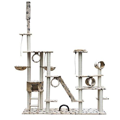 Anself Rascador Para Gatos Lujoso 230-260 cm Beige Con Estampado De Pa