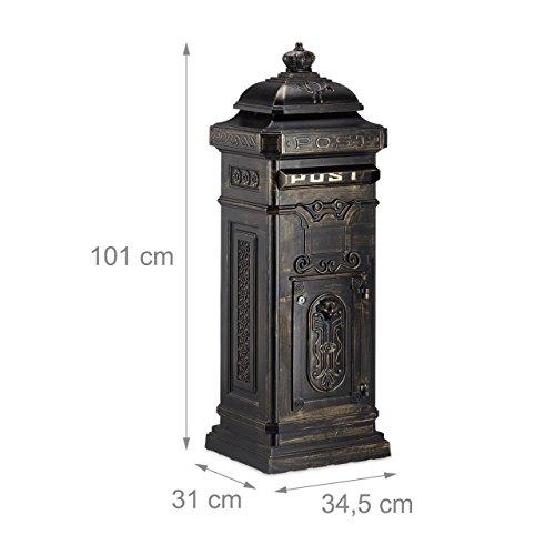Relaxdays Standbriefkasten Antik HBT: 106 x 38 x 34 cm nostalgischer Säulenbriefkasten aus rostfreiem Aluminium englischer Briefkasten Postkasten in britischem Design mit Posthorn, bronze - 4