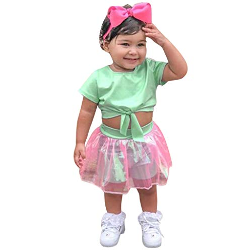 Mitlfuny Kleidung Set Kleid Damen Sommer Elegant Baby Mädchen Outfits & Set,Kleinkind Kinder Baby Mädchen Outfits Kleidung Kurzarm T-Shirt Crop Top + Rock Set (Kleinkinder Für Valentine-t-shirts)