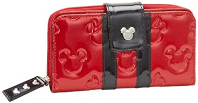 Loungefly Disney Mickey et Minnie Mouse Rouge/Noir verni Portefeuille estampé