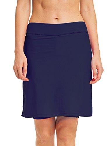 TLAENSON Damen Bikini Hose mit Rock Hoher Taille Strandrock Schwimm Baderock lang Navy blau DE 34-36 / Etikettes S