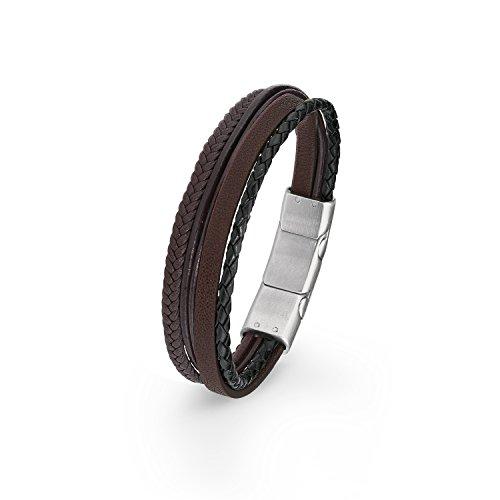 S.Oliver Herren Armband mehrreihiges Leder gelochten Edelstahl Magnetverschluss 20+1,5 cm braun
