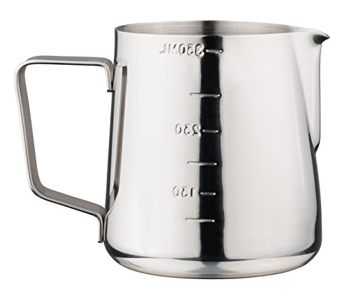 Luxpresso Milchkännchen/Messkanne/Messbecher mit Skala aus Edelstahl, 350 ml