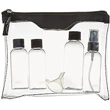 Sicherheitstoilettentasche für Ihre Flugreise, inkl. 2x50 ml, 1x80 ml Fläschchen und 1 Zerstäuber mit Auffülltrichter