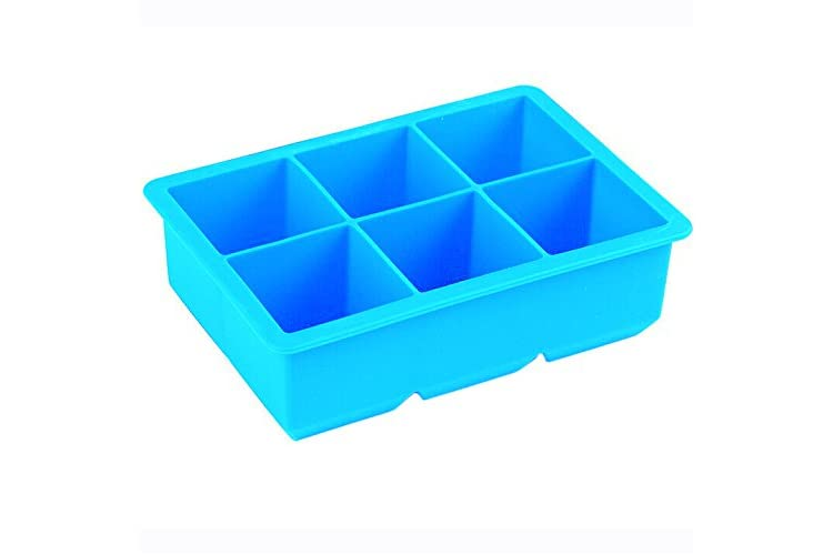 iNeibo Kitchen Whiskey Squares Silicone Ice Cube Tray - Make 6 Large 2 Inch Cubes the Perfect Size for Any Glass(blue)