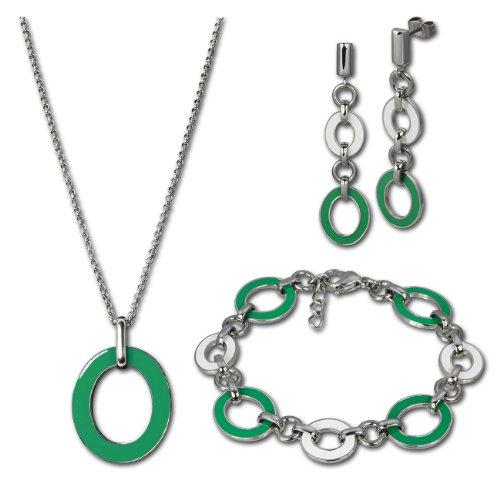 Set SterlinX-orecchini + collana + bracciale in Stainless Steel con verde-bianco smaltato in Stainless Steel collezione di SterlinX D1ESSG01G