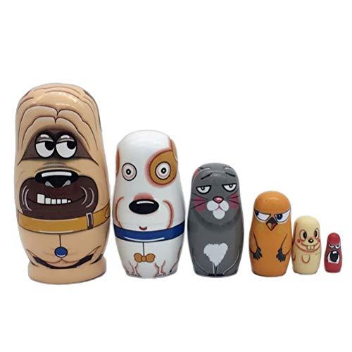 Matroschka Kostüm Russische - JJSFJH 6 Stück russische Puppen der Hierarchie aus Holz Welpen, die die Spielzeugpuppe stapeln 6 Hunde haben unterschiedliche Ausdrücke 6 Emotionen