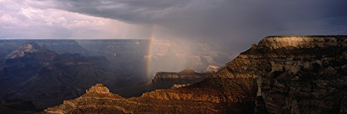 Panoramic Images - Monsoon Storm with Rainbow Passing Through The Grand Canyon viewed from Mather Point on The South Rim Grand Canyon National Park Arizona Photo Print (91,44 x 30,48 cm) Rainbow Rim