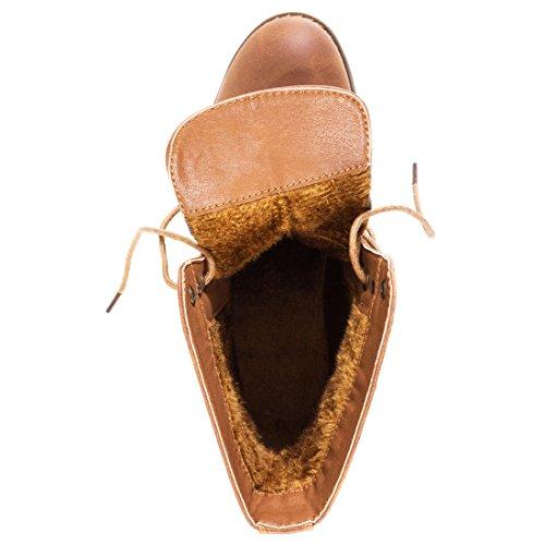 Stylische Basic Schnür Boots Stiefeletten in hochwertiger Lederoptik Camel Glattlederoptik