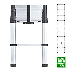 VonHaus 2.6m Telescopic Aluminium Extendable Ladder – Soft Close Anti Pinch Finger Protection – Anti-Slip Rungs / Non-Slip Rubber Feet - 150Kg Heavy Duty Capacity – EN 131 Safety Certificate for Commercial Use