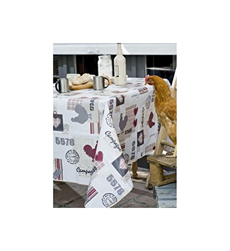 Nappe Toile cirée Blanche Rect. 140x200 cm Collection Country Side, Home and Déco