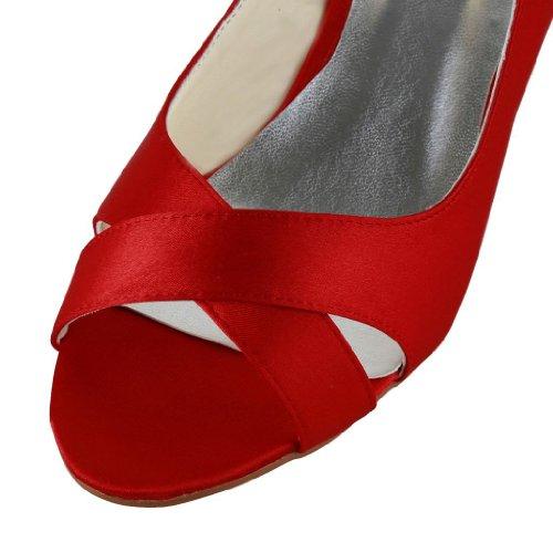 Jia Jia Wedding 0118 Scarpe Sposa Scarpe col tacco donna Rosso