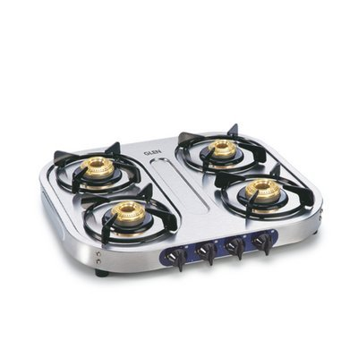 Glen LPG Stove 1044 SS Brass 4 Burner Gas Cooktop - Stainless Steel Kitchen Gas Stove